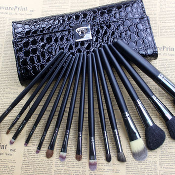 Professional 15-pcs Wool Black Makeup Brush Sets [9647070735]