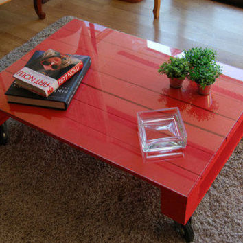 The Elektra. Custom (made to order)  Red Coffee Table. Made of reclaimed wood. Free Shipping.
