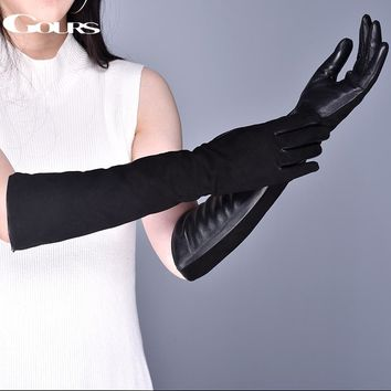 Gours Women's Genuine Leather Gloves Winter Warm Suede Goatskin Touch Screen Long Gloves Fashion Sheepskin Mittens New GSL080