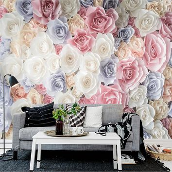 Hand Painted 3D Floral Garden Roses Custom Photo Wallpaper Mural Living Room Sofa TV Background Wall Covering Papel De Parede 3D