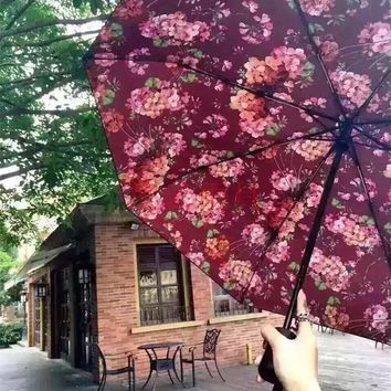 Gucci Trending Fashion Print Flower Uv Protection Fully automatic. Folding Umbrella