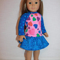 18 inch doll clothes, blue skater/circle skirt and pink and blue heart print shirt, american girl, Maplelea