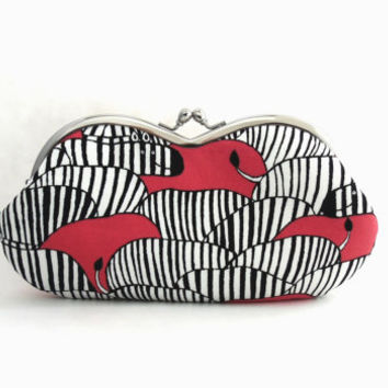 Sunglasses  Case/  Frame Clutch Purse - zebra