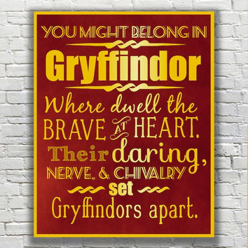Harry Potter Typography Quote - Gryffindor According to the Sorting Hat