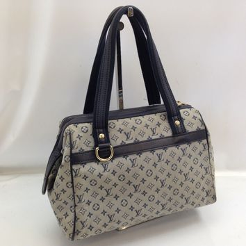 Auth Louis Vuitton Monogram Mini Canvas Josephine PM Hand Bag Navy 8C230160#