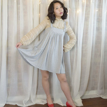 Vintage 90s Grey Jumper Dress with Pockets