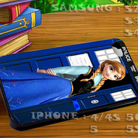 Disney Frozen Anna On Tardis Doctor Who - For iphone 4 iphone 5 samsung galaxy s4 / s3 / s2 Case Or Cover Phone.