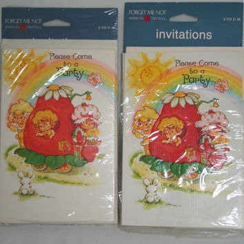 Strawberry Shortcake Vintage Invitations Set of 2 Packs 14 Invitations 16 Envelopes Forget Me Not 1980s Party Invitations for Girls So Cute