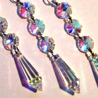 3 AB Iridescent Crystal Ornament Decorations - Triple Bead Icicle Crystal Ornaments - FULL LEAD Crystal