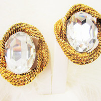 Runway Style Earrings Vintage Crystal Earrings Huge Bling Headlight Vintage Jewelry Fashion Jewellery