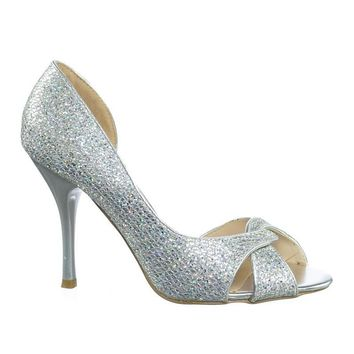 Robin1 Shinny Glitter Peep Toe Half d'Orsay High Heel Dress Pump