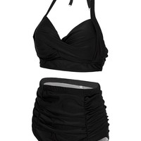 Viqiv Vintage Two Piece Swimsuits High Waisted Black Bikini Swimwear Tankini (FBA)