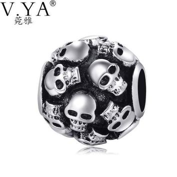 MDIGIJ5 Skull Charms Beads fit Pandora Necklace Bracelet for  Man Jewelry DIY Chain with Cool Skull Beads TZ035