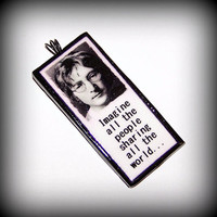 Handmade Polymer Clay John Lennon Imagine All The People Sharing All The World Pendant