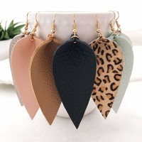 Women Bohemian Leaf Drop Dangle Genuine Leather Hook Stud Earrings Fashion