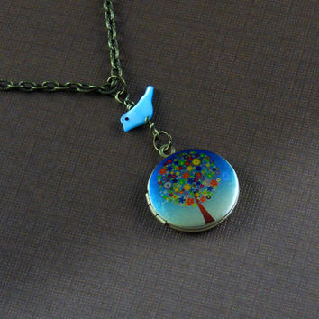 Bird Flowers Locket Necklace