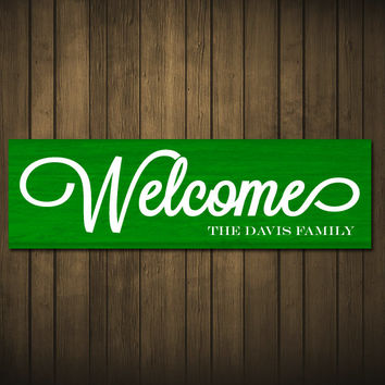 Personalized Welcome Sign Family Name Last Name Wood Sign Wedding Gift Anniversary Housewarming Gift