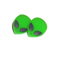 Alien Post Earrings, Green Retro 90's Style Alien Stud Earrings
