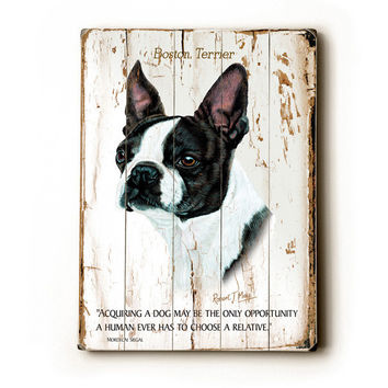 Boston Terrier by Artist Robert May Wood Sign