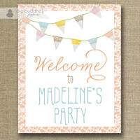 Welcome Sign Birthday Party Lace Bunting Banner Flags Pink Printable 8x10 Classic Elegant Sign DIY Digital or Printed - Madeline Collection
