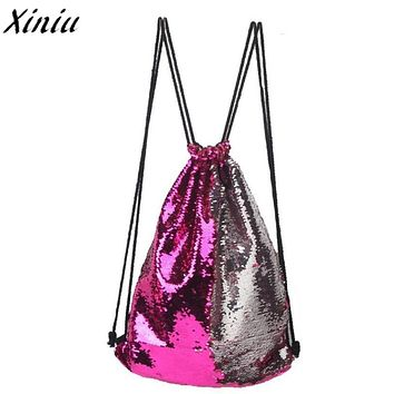 Drawstring Bag Panelled Double Color Sequins Women Men Shoulder Bag Fashion Design Backpack Bolsas Feminina #7421