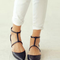 New Leather T Bar Flat Strap Heels