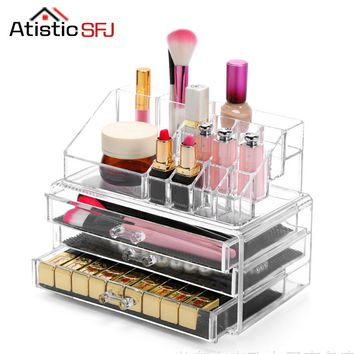 Clear Acrylic Cosmetic Organizer Box Makeup Storage Drawer Desk Bathroom Makeup Brush Lipstick Holder Desktop Storage Box