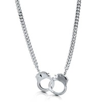 Silvertone Bold Openable Handcuffs Necklace With Curb Chain #n999