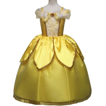 Kids Carnival Clothing Beauty And The Beast Bella Princess Cosplay Costumes Girl Christmas Halloween Party Long Dresses Children