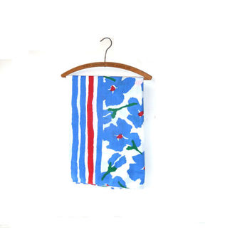 retro mary quant table cloth . floral . stripes . made in the uk . dark blue . garden party . baby shower