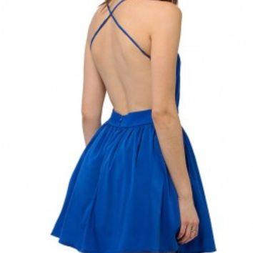 Sexy Deep V-Neckline Backless Cami Dress With Cross Back
