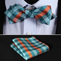 JC201G Green Orange Check Silk Men Diamond Point Tip Self Bow Tie Pocket Square Handkerchief Hanky Suit Set