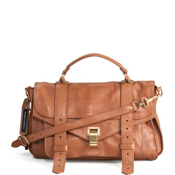 PS1 Medium Satchel Bag, Saddle - Proenza Schouler