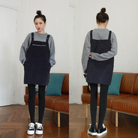 New Autumn Winter New Fashion Good Qulity Black Plaid Dress Women Korean Zipper Pocket Knitting Thicken Loose Suspender Dresses