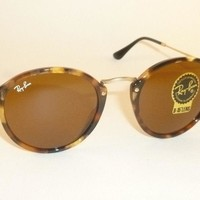 New RAY BAN Sunglasses Tortoise Frame RB 2447 1160 B-15 Glass Brown Lenses