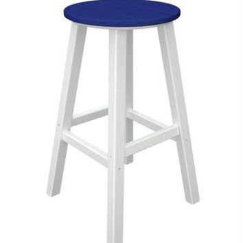 2 Bar Stools - Ocean Blue With White Legs