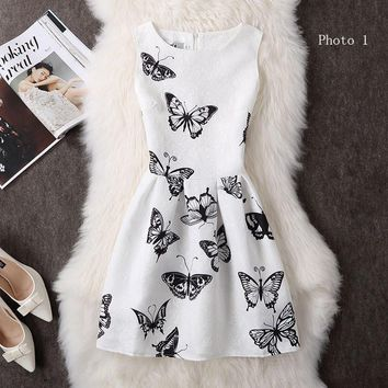 Fashion printed sleeveless dresses show tall waist small pure and fresh short dress-1