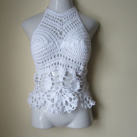 Crochet halter top, WHITE crochet top, White halter top, festival clothing, beachcover up, gyspy, boho bohemian, carnival, coachella