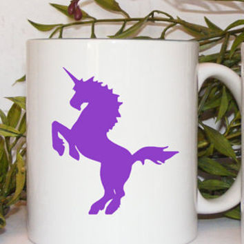 Purple Unicorn Coffee Mug gift by Mugsleys on Etsy