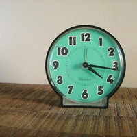 Vintage Westclox Wind up Aqua Blue and Black Alarm Clock