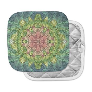 "Art Love Passion ""Pink Celtic Flower"" Green Pink Pot Holder"