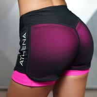Women 2 in 1 Yoga Shorts Sexy Bottoms Female Mesh Overlay Side Pocket