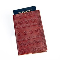 Brown Embossed Genuine Leather Handmade Passport Cover