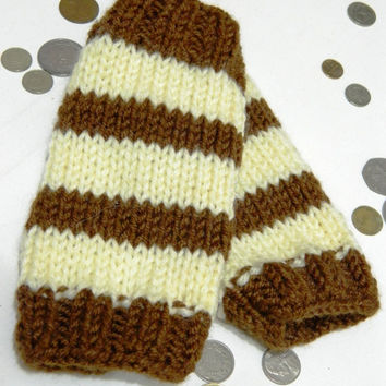 Brown and Cream Fingerless Gloves, Men Women Mitts, Unisex, Gift, Wool, Gift under 50,striped,Hand Knit, Original design