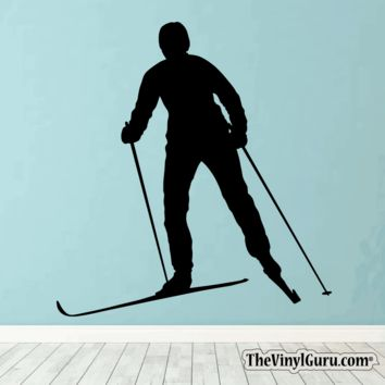 Skiing Wall Decal - Ski Sticker #00023