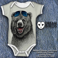 The Happiest Bear Baby Onesuit, Fullprint Onesuit Bodysuit