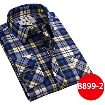 Men's Casual Shirts New Spring Fashion Slim Fit Long Sleeve Male Plaid Cotton Dress Social Shirts