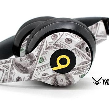 "Custom Money Design Beats By Dre Headphones - Bluetooth Solo Headset - Customizable Beats Gift for him - Gold ""b"" Logo - Studio 1.0 2.0"