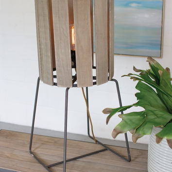 Wood Slatted Cylinder Tall Table Lamp