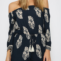 Multicolor Off Shoulder Romper